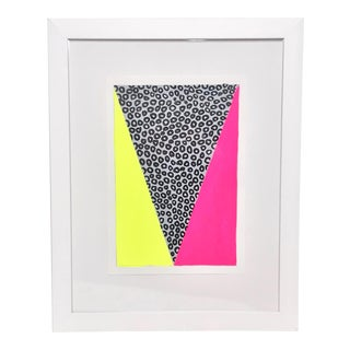Contemporary Geometric Neon Pink and Yellow Framed Painting For Sale