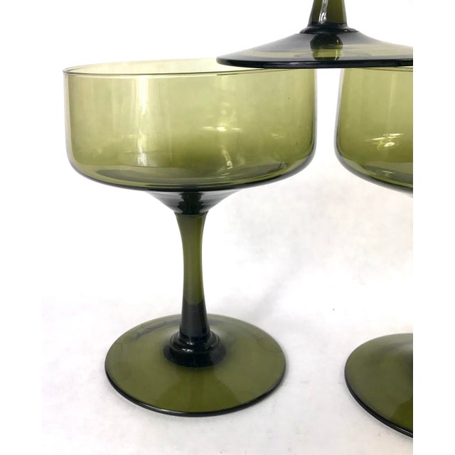 Mid 20th Century Vintage Smoke Green Coupe Champagne Glasses - Set of 5 For Sale - Image 5 of 7