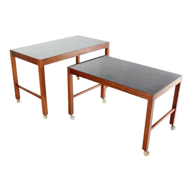Large Danish Mid-Century Modern Walnut Nesting Tables For Sale