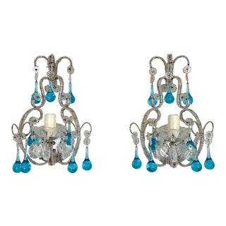 Italian Silver-Leafed Crystal Beaded Sconces With Blue Drops - a Pair For Sale