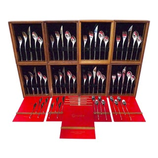 1960s International 'Vision' Sterling Silver Flatware, 7-Piece Setting, Service for 8 - 56 Pieces For Sale