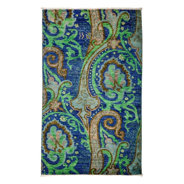"""Suzani Hand Knotted Area Rug - 3'1"""" X 5'2"""" - Image 1 of 3"""