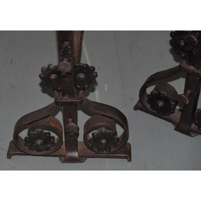19th Century Hand Forged Wrought Iron Andirons - a Pair For Sale In San Francisco - Image 6 of 7