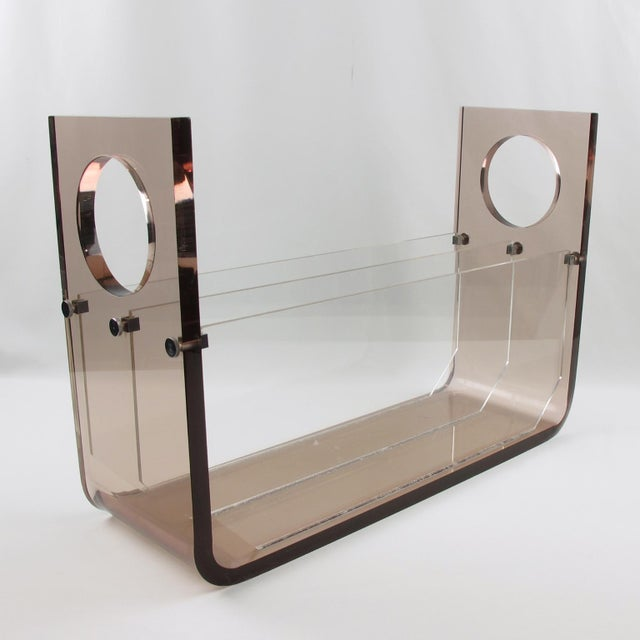 Roche Bobois France 1970s Smoked Gray Lucite Magazine Rack Stand For Sale - Image 9 of 9