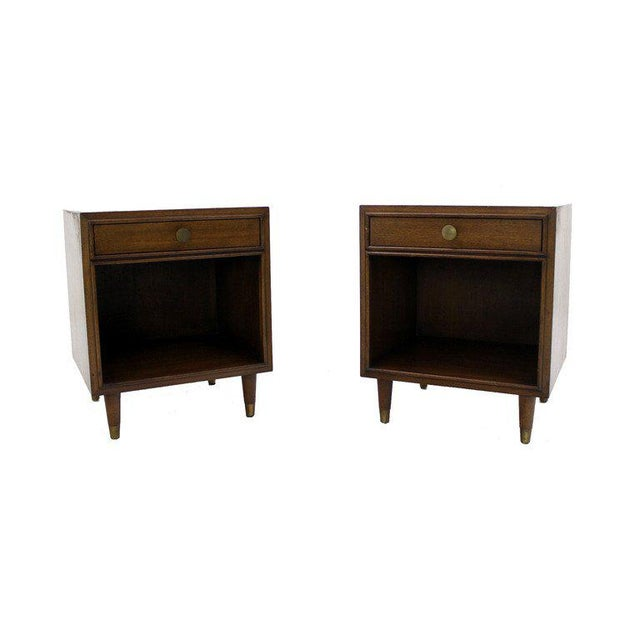 Brass Pair of Johnson Mid-Century Modern Walnut Night Stands For Sale - Image 7 of 7