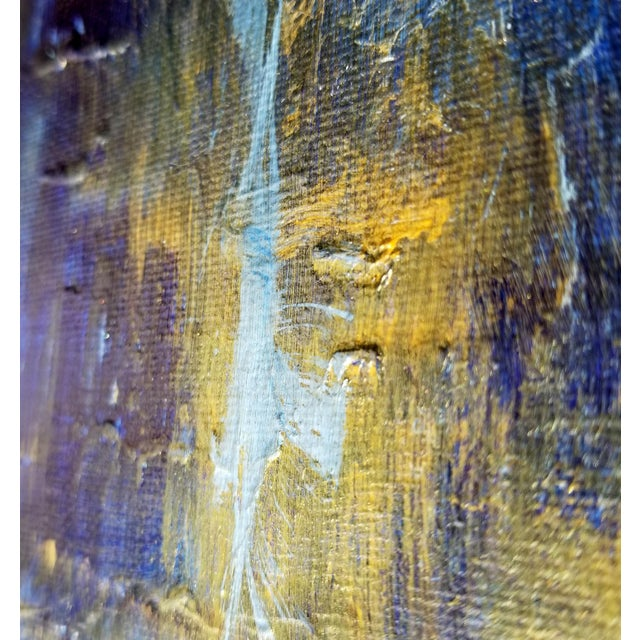 Original Abstract Modern Art Painting, Indigo Blue Gold on Metallic Canvas - Image 3 of 5