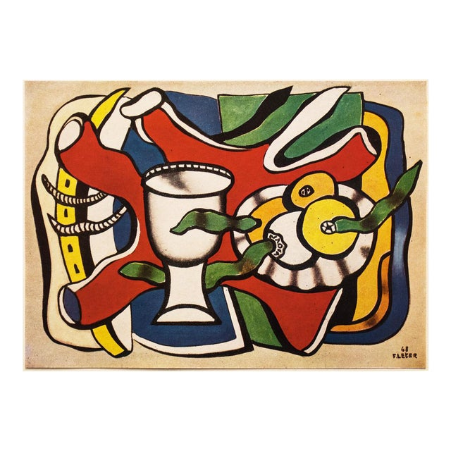 """1948 Fernand Léger Original """"Still Life With a White Vase"""" Period Lithograph For Sale"""