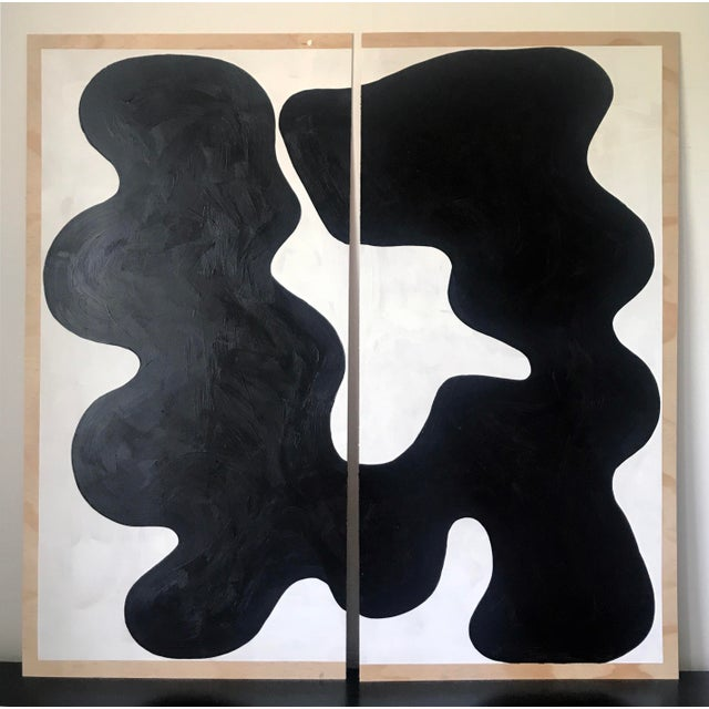 Contemporary Diptych Oversized Abstract Acrylic Painting For Sale - Image 11 of 11