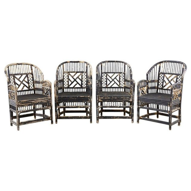Brighton Bamboo Rattan Chinese Chippendale Lacquered Chairs For Sale - Image 13 of 13