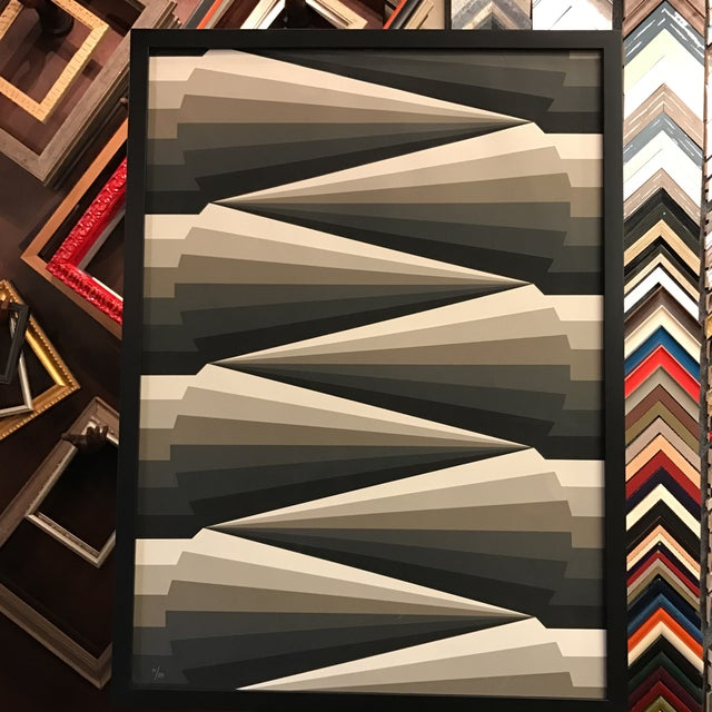 Framed Geometric Abstract Lithograph - Image 4 of 7