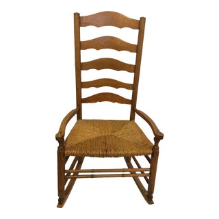 Vintage Rush Seat Rocking Chair For Sale