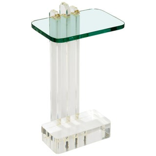 Modern Lucite and Glass Side Table For Sale