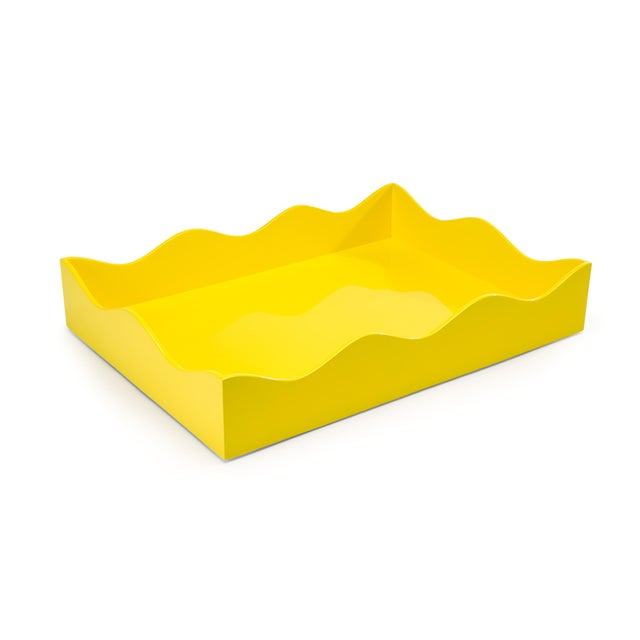 Rita Konig Collection Large Belles Rives Tray in Citron Yellow For Sale - Image 4 of 4