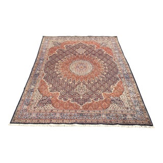 Persian Tabriz Red Cream Silk Wool Blend Rug - 10″ × 1′2″
