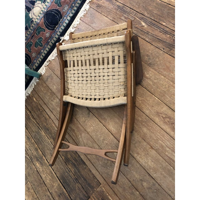 Organic Mid Century Modern Woven Rope and Teak Folding Armchair For Sale - Image 11 of 12