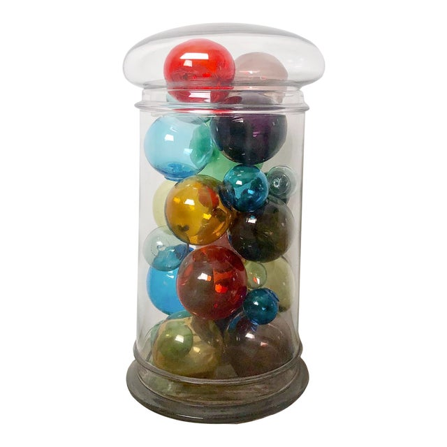 Colored Glass Globes - Collection of 21 For Sale