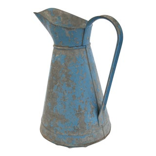 Antique French Painted Zinc Pitcher