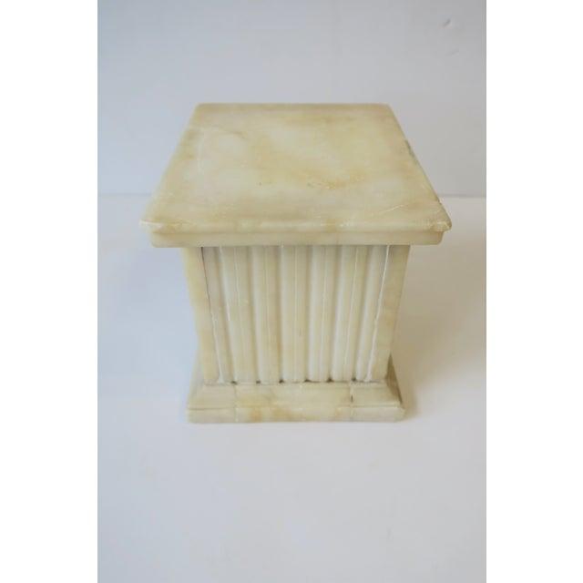 Italian Alabaster Marble Column Pedestal For Sale - Image 9 of 13