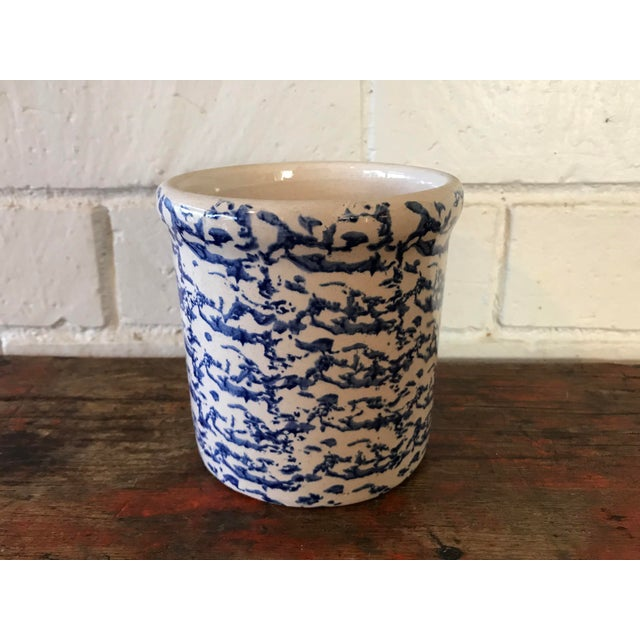 Blue California Pottery Spongeware Crock For Sale - Image 10 of 10