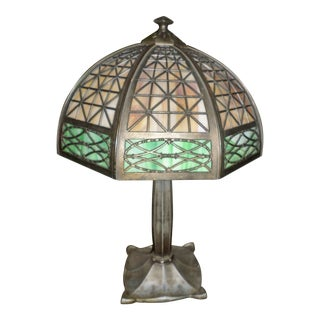 Antique Brown and Green Bradley and Hubbard Slag Glass Table Lamp For Sale