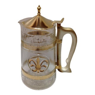 Fleur-De-Lis Gold Plate Sculptured Glass Carafe For Sale