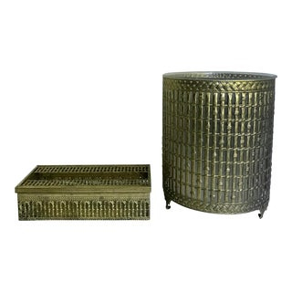 1950's Regency Faux Bamboo Bathroom Waste Bin and Tissue Cover Set For Sale