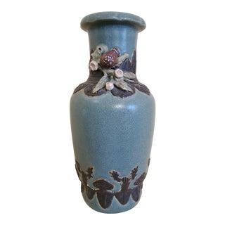 Antique Asian Bronze & Ceramic Handmade Vase For Sale