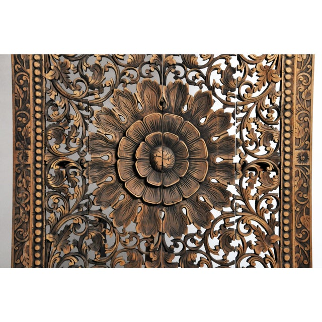 2010s Southeast Asian Carved Teak Flower Panel For Sale - Image 5 of 13