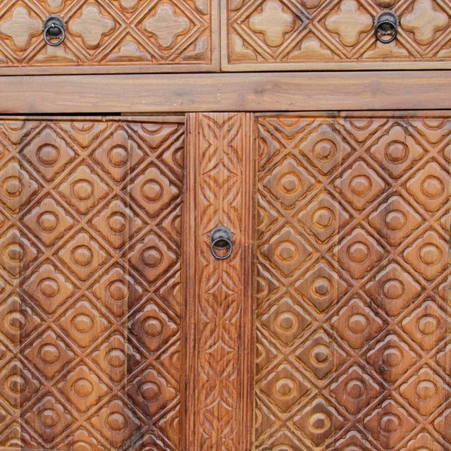 Diamond Carved Enfilade Teak Wood Buffet - Image 2 of 9