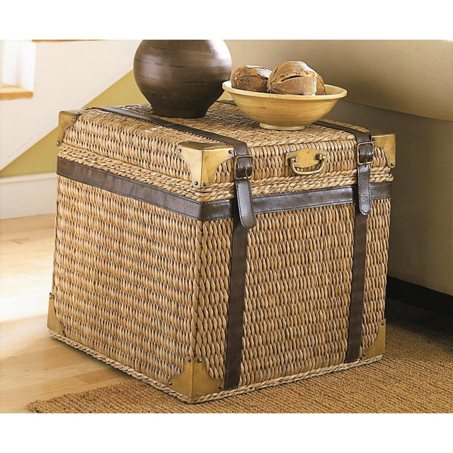 Animal Skin Lampakanay Grass Woven Trunk Side Table For Image 7 Of