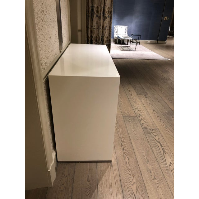 """New York showroom sample. Minimum wear. Good condition. 6-drawer hest 54""""W x 34""""H x Ivory Satin Lacquer Frame Bleached Oak..."""