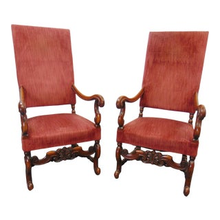 Jacobean Style Carved Walnut High Back Arm Chairs - a Pair For Sale