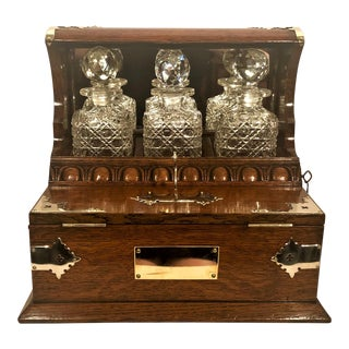 Antique English Brass Mounted Wooden Games Box Tantalus, Circa 1860. For Sale