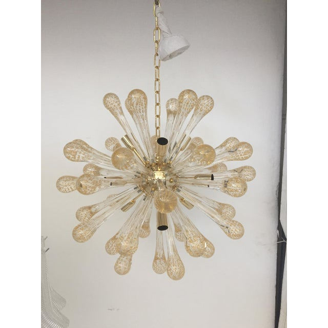 Glass Murano Glass Gold and Transparent Sputnik Chandelier For Sale - Image 7 of 7