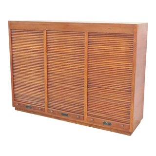 Modern Design Walnut Tambour Door Cabinet