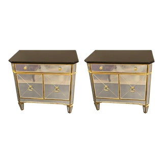 Hollywood Regency Style Mirrored Marble-Top Nightstands or End Tables - a Pair For Sale
