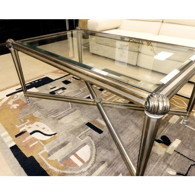 LaBarge Hollywood Regency Brass & Steel Coffee Table For Sale - Image 9 of 13