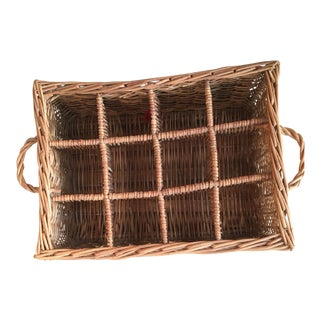 French Rustic Wicker Wine Basket For Sale
