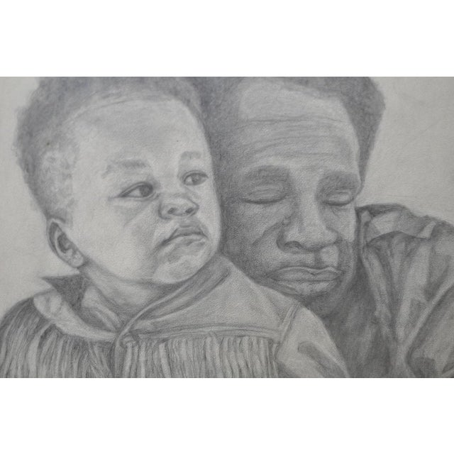 Circa 1960s Father and Son Pencil Portraits - Image 4 of 6