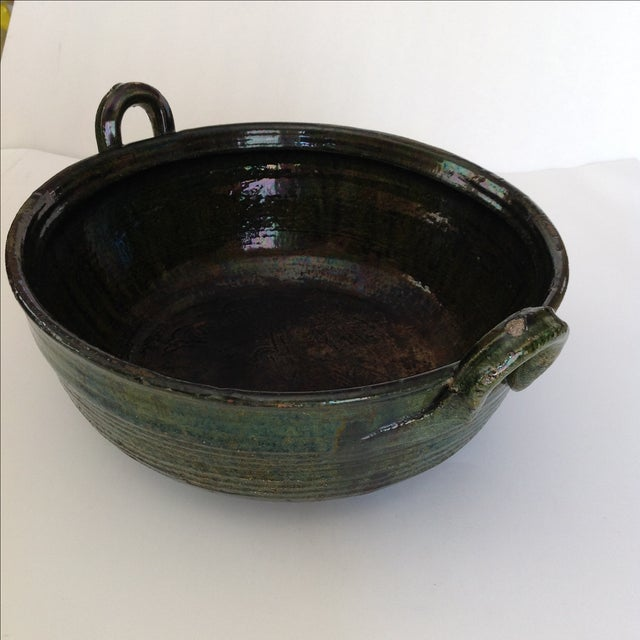 Vintage Rustic Green Studio Pottery Bowl - Image 8 of 9