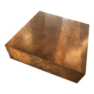 1970s Hollywood Regency Burl Wood Cubist Coffee Table For Sale