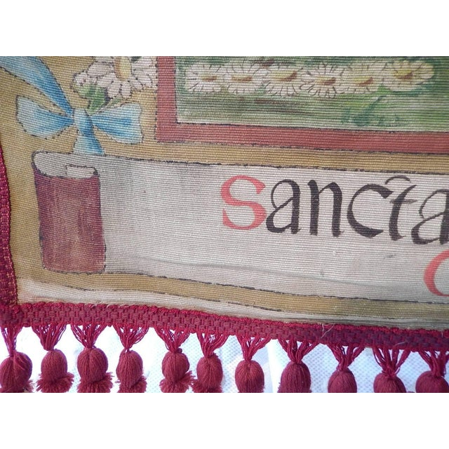 19th Century Huge Italian Religious Banner Hand-Painted For Sale - Image 9 of 11