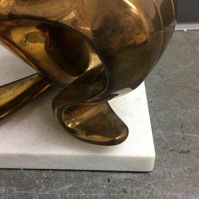 Jonathan Adler Brass Banana Sculpture on a White Marble Base - Image 5 of 7