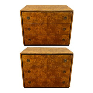 1970's Mid-Century Modern Tortoise Burl & Ebony Wood John Stuart Chests-a Pair For Sale