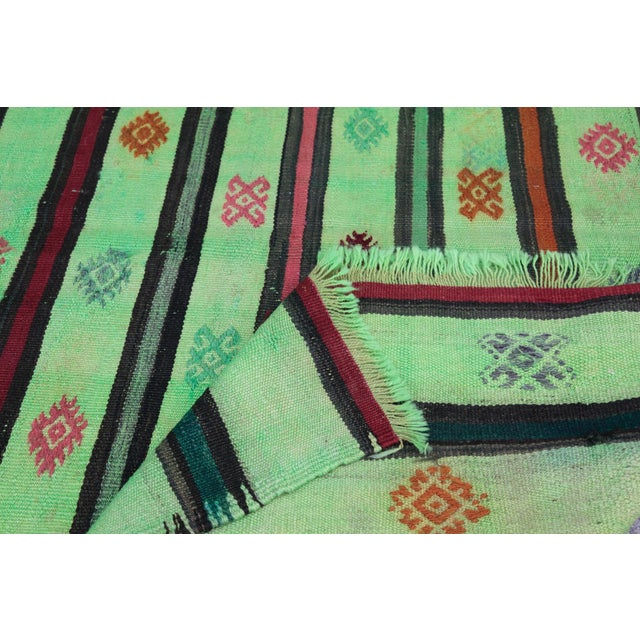 Turkish Overdyed Green Color Kilim - 7'4'' x 5'11'' For Sale - Image 10 of 11