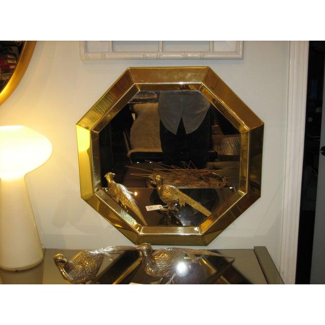 Vintage Modern Brass Octagon Mirror - Image 3 of 3