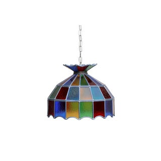 1970's Multi Colored Lead Glass Hanging Shade For Sale