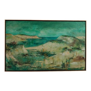 Vintage Oil Painting of Provincetown Cape Cod Coastal Seascape, Framed For Sale