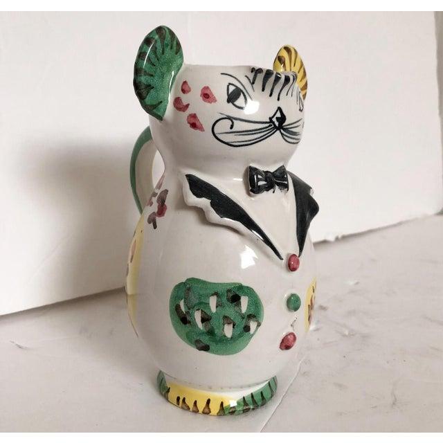 Ceramic Artisan Italian Pitcher Whimsical Cat in Tuxedo For Sale - Image 7 of 7