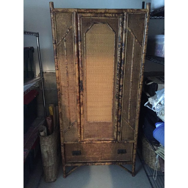 Antique Tortoise Shell Bamboo Armoire - Image 2 of 5